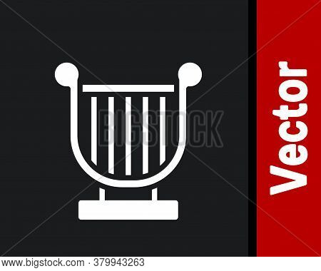 White Ancient Greek Lyre Icon Isolated On Black Background. Classical Music Instrument, Orhestra Str