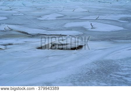 Frozen River Dnieper In City Kremenchug, Ukraine
