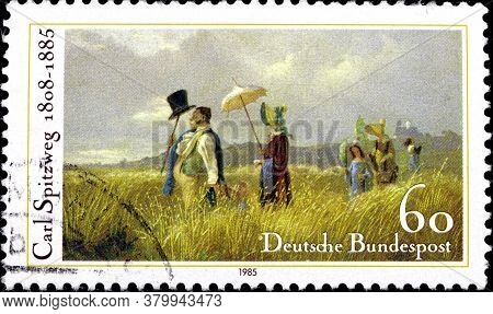 02 09 2020 Divnoe Stavropol Territory Russia German Postage Stamp 1985 The 100th Anniversary Of The
