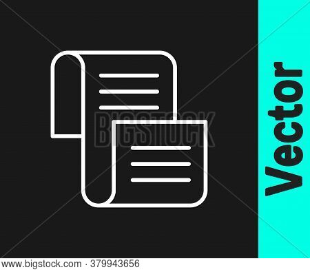 White Line Decree, Paper, Parchment, Scroll Icon Icon Isolated On Black Background. Vector