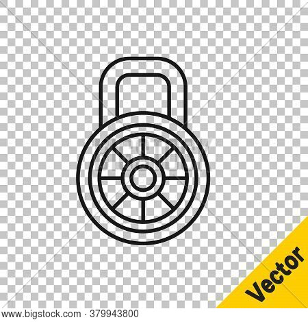 Black Line Safe Combination Lock Icon Isolated On Transparent Background. Combination Padlock. Secur