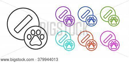 Black Line Dog Pill Icon Isolated On White Background. Prescription Medicine For Animal. Set Icons C