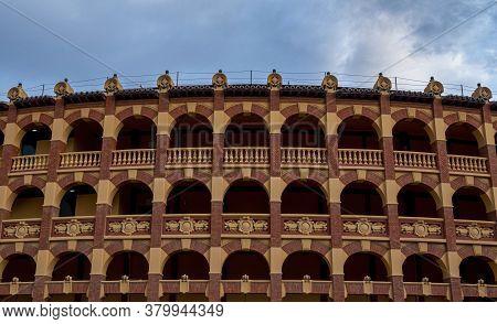 Detail Of Plaza De Toros Or Bullring In Zaragoza, Spain.