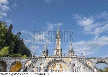 Lourdes, France - September 14 2019: The Sanctuary Of Our Lady Of Lourdes In Lourdes, France