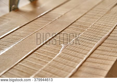 Joinery. Gluing And Clamping Wooden Panels. Wooden Furniture Manufacturing Process. Furniture Manufa