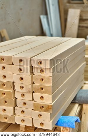 Joinery. Wooden Table Legs. Stacked Wooden Table Legs In Workshop