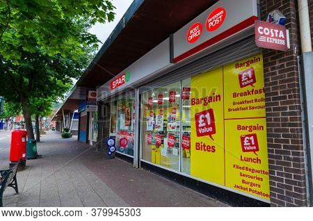 Prestatyn, Uk: Jul 06, 2020: A General View Of The High Street At Early Evening. Spar Operate A Bran