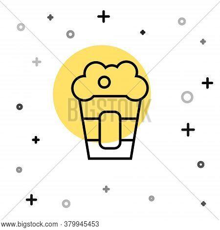Black Line Popcorn In Cardboard Box Icon Isolated On White Background. Popcorn Bucket Box. Random Dy