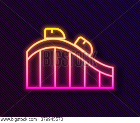Glowing Neon Line Roller Coaster Icon Isolated On Black Background. Amusement Park. Childrens Entert