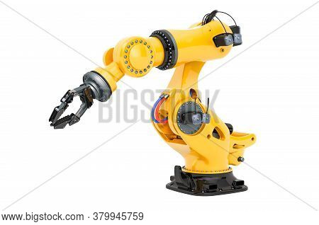 Mechanical Arm, Robotic. 3d Rendering Isolated On White Background