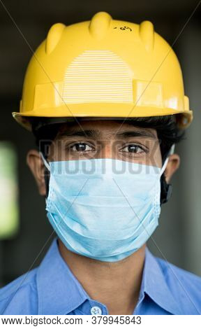 Head Shot Of Construction Worker, Reopening Of Construction Sites Or Industry - Construction Worker