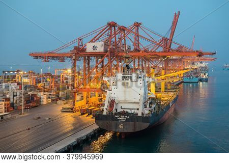 Salalah, Oman - November 19, 2019: Container Ship Msc Ishyka Moored In Port Of Salalah In Oman, Arab