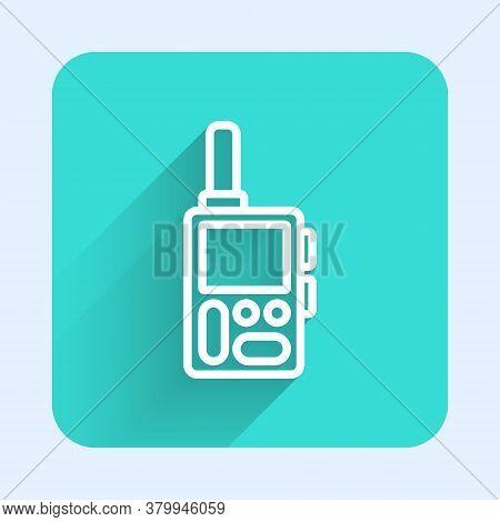 White Line Walkie Talkie Icon Isolated With Long Shadow. Portable Radio Transmitter Icon. Radio Tran