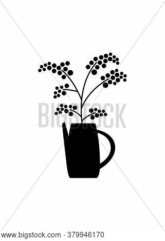 A Bunch Of Herbs And Twigs With Berries In A Vase. Silhouettes Of Simple Twigs, Plants. Ceramic Pitc