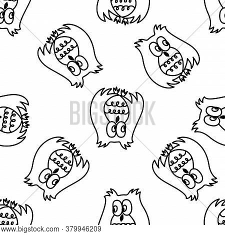 Owl Seamless Pattern. Hand Drawn Vector Illustration. Different Kinds Of Owl. Doodle Illustration