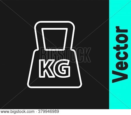 White Line Weight Icon Isolated On Black Background. Kilogram Weight Block For Weight Lifting And Sc