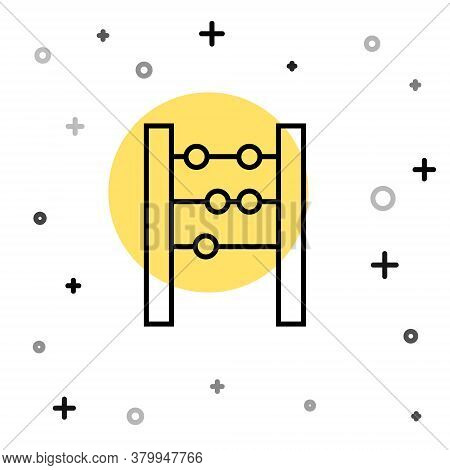 Black Line Abacus Icon Isolated On White Background. Traditional Counting Frame. Education Sign. Mat