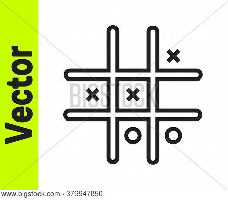 Black Line Tic Tac Toe Game Icon Isolated On White Background. Vector