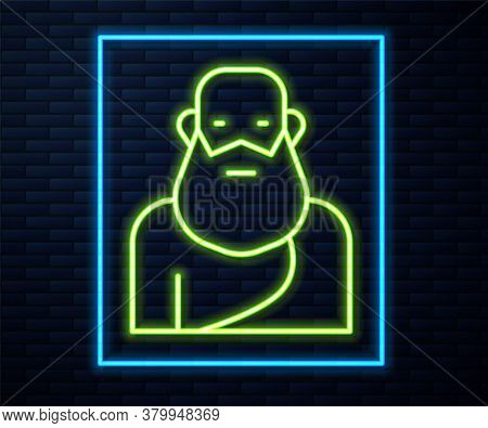 Glowing Neon Line Socrates Icon Isolated On Brick Wall Background. Sokrat Ancient Greek Athenes Anci