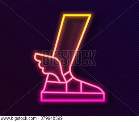 Glowing Neon Line Hermes Sandal Icon Isolated On Black Background. Ancient Greek God Hermes. Running