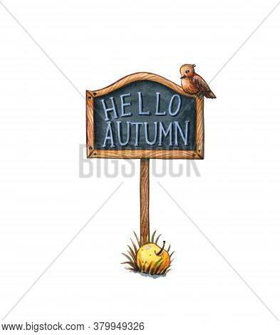 Hand Drawn Watercolor Clipart Of Chalkboard Tag With Hello Autumn Greeting, Finch Bird And Fallen Ap