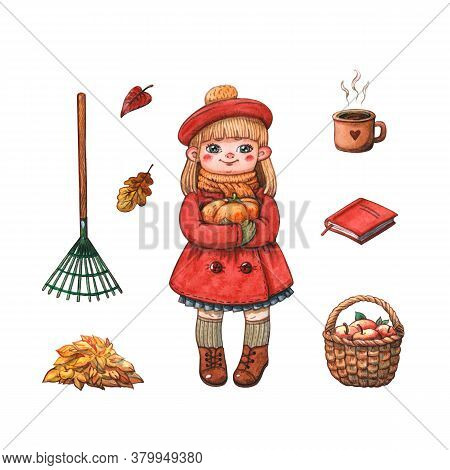 Hand Drawn Watercolor Illustration Of Little Girl In Red Coat And Barret Holding Pumpkin Isolated On