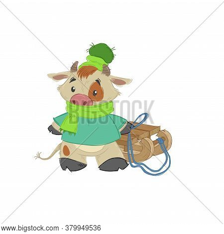 Cute Bull, Ox Or Bison Taking A Wooden Sledges. 2021 Chinese Year Of Bull Symbol. Cartoon Hand Drawn