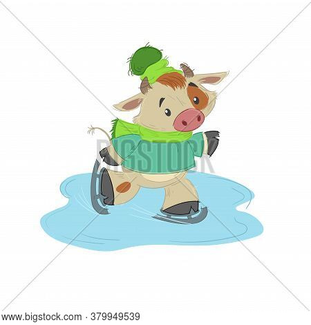Cute Bull, Ox Or Bison Skating On Open Air Ice. 2021 Chinese Year Of Bull Symbol. Cartoon Hand Drawn