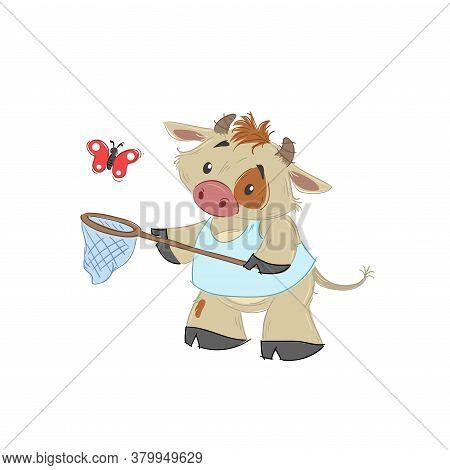Cute Bull, Ox Or Bison Catching Butterfly With His Scoop-net. 2021 Chinese Year Of Bull Symbol. Cart
