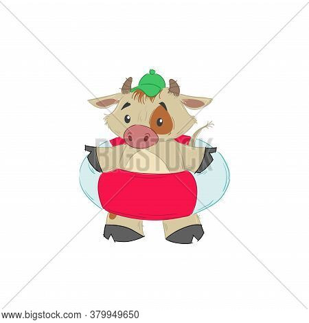 Cute Bull, Ox Or Bison With Swimming Floating Ring. 2021 Chinese Year Of Bull Symbol. Cartoon Hand D