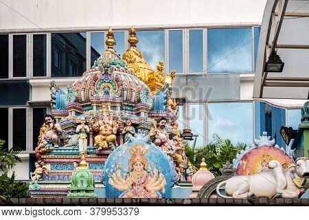 Sri Veeramakaliamman Temple Dedicated To The Hindu Goddess Kali, With Richly Decorated Carved Colorf