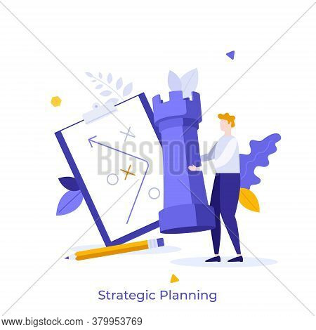 Man Holding Rook Chess Piece, Scheme Drawn On Tablet And Pencil. Concept Of Strategic Planning, Busi