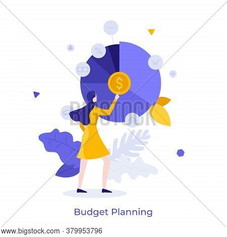 Woman And Round Pie Chart With Dollar Coin And Indication Of Expenses Or Spendings. Concept Of Servi