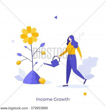 Woman With Watering Can Cultivating Plant With Dollar Coins Growing On It. Concept Of Income Growth,
