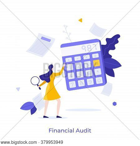 Woman Holding Magnifying Glass And Using Calculator. Concept Of Financial Audit Or Professional Acco