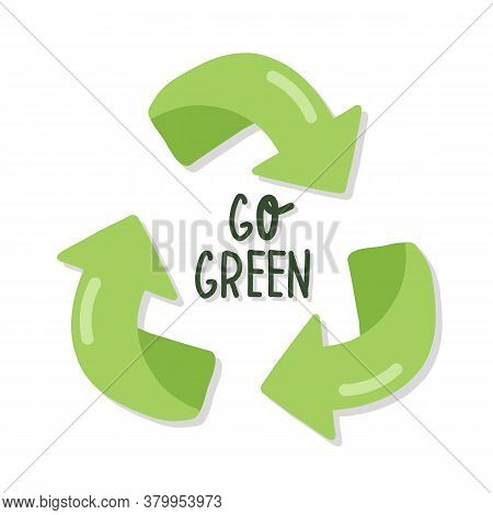 Hand Drawn Elements Of Zero Waste Life In Vector. Eco Style. No Plastic. Go Green. Green Arrows Recy