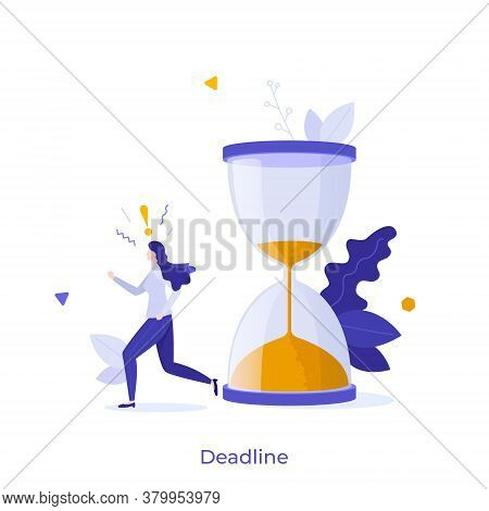 Woman Running In Panic And Hourglass. Concept Of Project Deadline, Effective Project Time Planning A