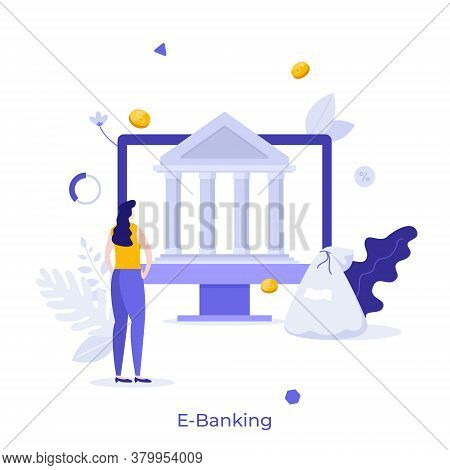 Woman Standing In Front Of Computer With Bank Building On Screen. Concept Of E-banking, Online, Inte