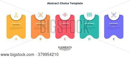 Five Separate Colorful Abstract Rectangular Elements Placed In Horizontal Row. Concept Of 5 Service