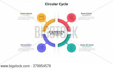 Ring-like Chart With 4 Colorful Bubble Protuberances. Concept Of Four Stages Of Cyclic Process. Flat