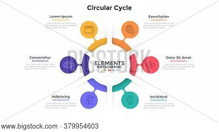 Ring-like Chart With 6 Colorful Bubble Protuberances. Concept Of Six Stages Of Cyclic Process. Flat