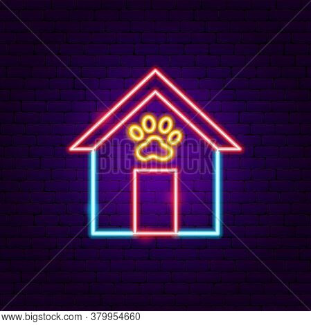 Dog Booth Neon Sign. Vector Illustration Of Pet Promotion.