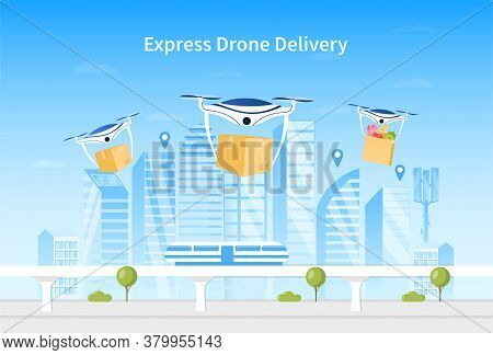 Drone Delivery Concept. A Group Of Drones Delivers Boxes In The Background Of A Smart City. Futurist