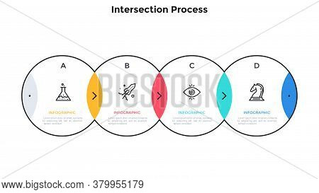 Process Chart With 4 Intersected Circular Elements. Concept Of Four Steps Of Investment Project Deve