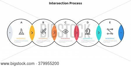 Process Chart With 5 Intersected Circular Elements. Concept Of Five Steps Of Investment Project Deve