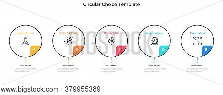 Five Round Elements Placed In Horizontal Row. Concept Of 5 Features Of Startup Project To Choose. Si