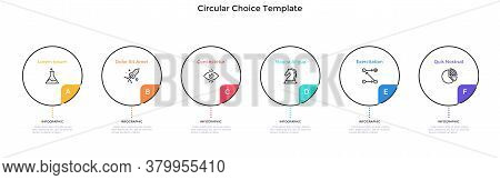 Six Round Elements Placed In Horizontal Row. Concept Of 6 Features Of Startup Project To Choose. Sim