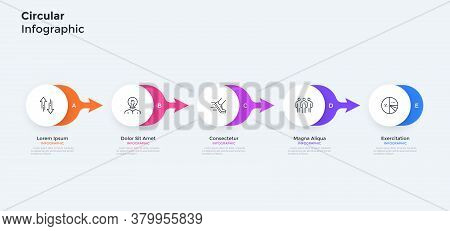 Five Paper White Round Elements Placed In Horizontal Row And Connected By Colorful Arrows. Concept O