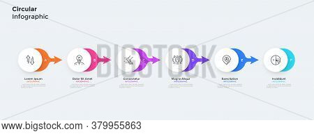Six Paper White Round Elements Placed In Horizontal Row And Connected By Colorful Arrows. Concept Of
