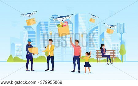 Happy Citizens Receive Their Parcels In The City. Express Drone Delivery Concept. Digital Consumer M